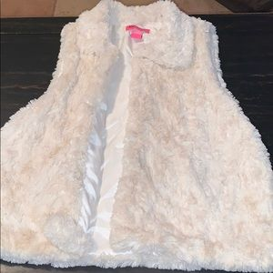 Betsey Johnson Cream Shag Vest - Women's Medium